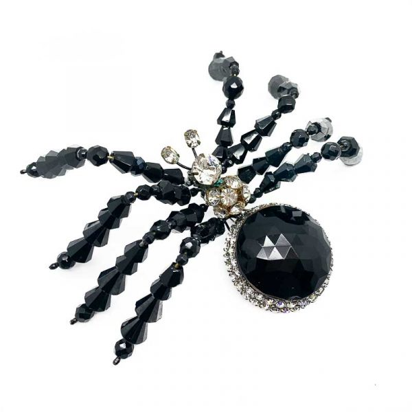 Vrba Black Spider Brooch