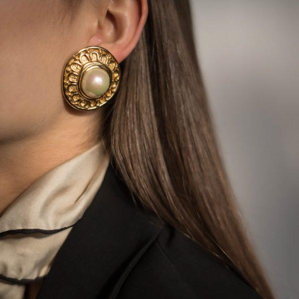 Vintage Dior Etruscan Pearl Earrings