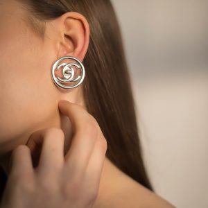 Vintage Chanel Silver Turnlock Earrings
