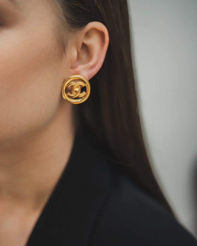Vintage Chanel Turnlock Earrings Gold Jennifer Gibson Jewellery