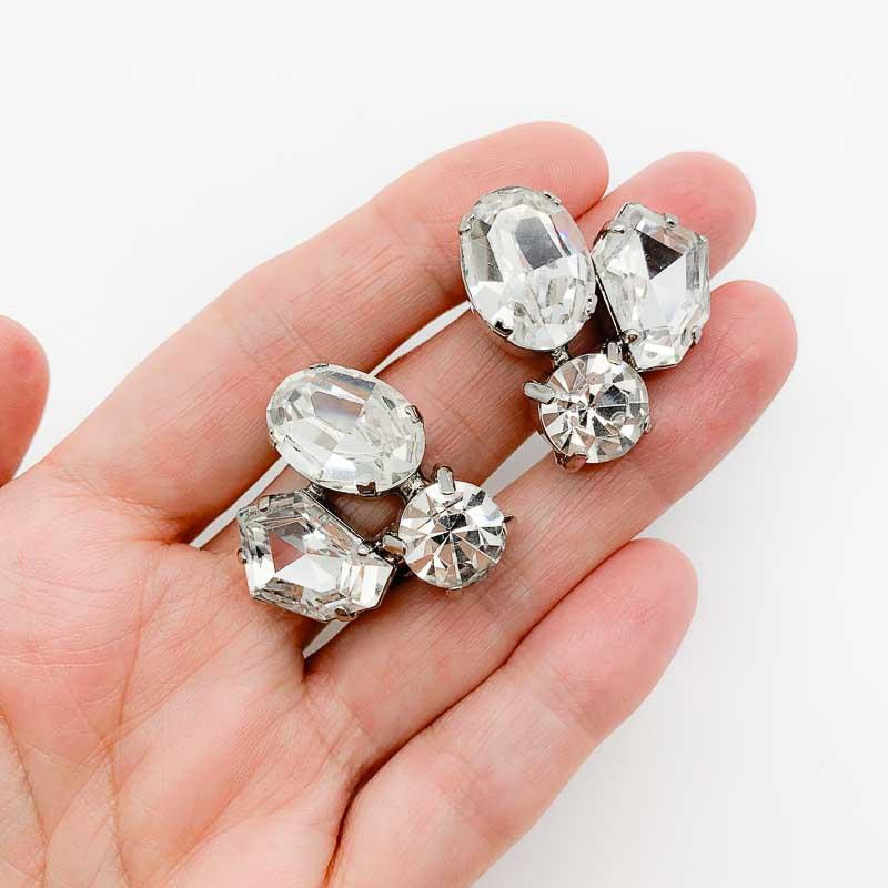 Vintage Crystal Trio Earrings