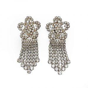 Vintage Rhinestone Floral Chandelier Earrings