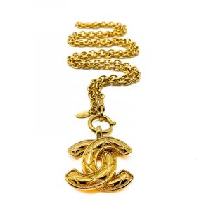 Vintage Chanel Matelesse CC Logo Necklace
