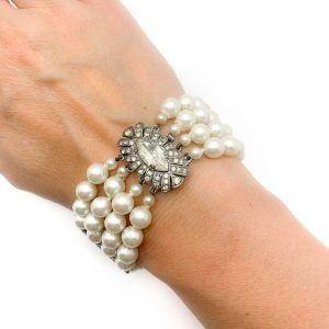 Art Deco Pearl Silver and Paste Bracelet