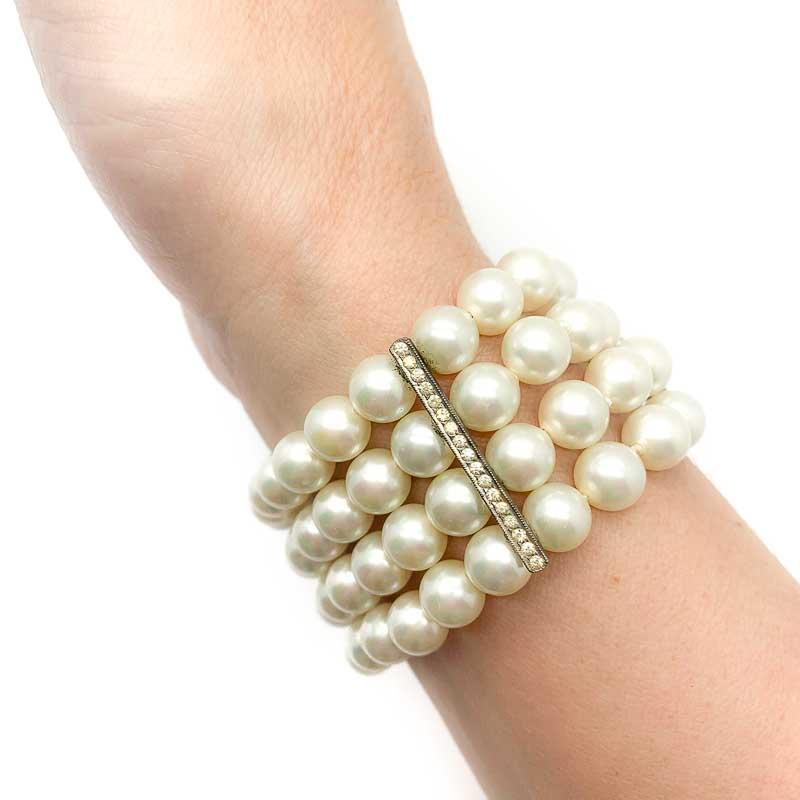 Art Deco Sterling Silver Blue Paste Line Bracelet