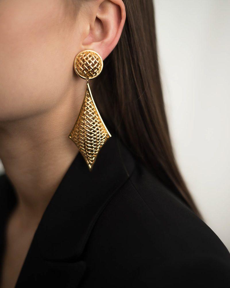 Vintage Dior Mesh Shoulder Duster Earrings