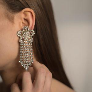 Vintage Rhinestone Floral Chandelier Earrings Jennifer Gibson Jewellery