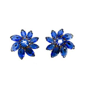 Vintage Austrian Blue Flower Earrings