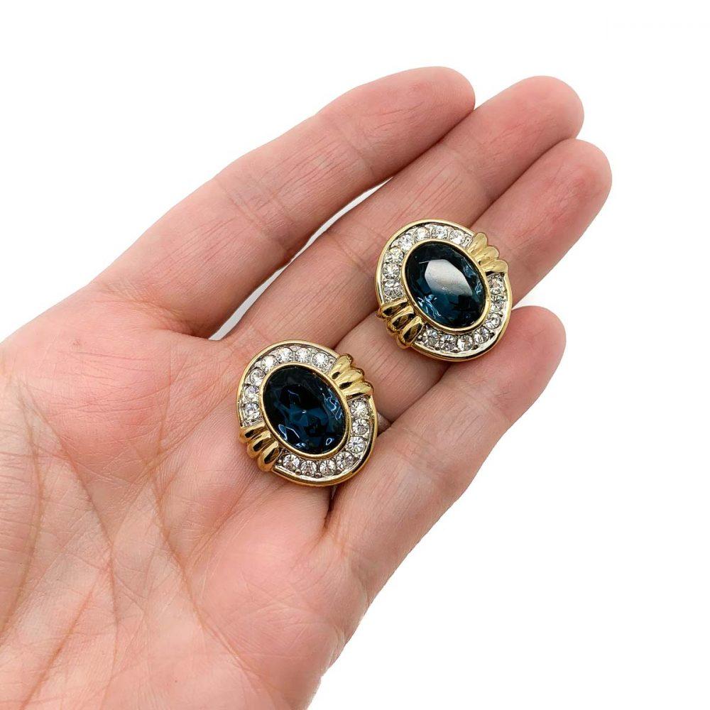 Vintage Blue & White Crystal Earrings