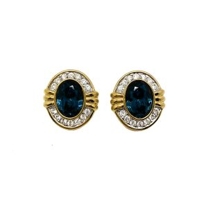 Vintage Blue & White Crystal Earrings