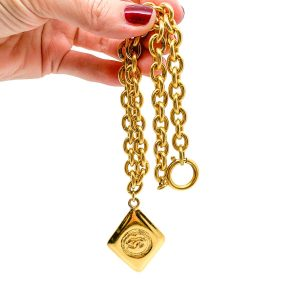 Vintage Chanel Gold CC Logo Necklace 1980s