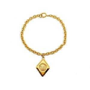 Vintage Chanel Gold CC Logo Necklace 1980s