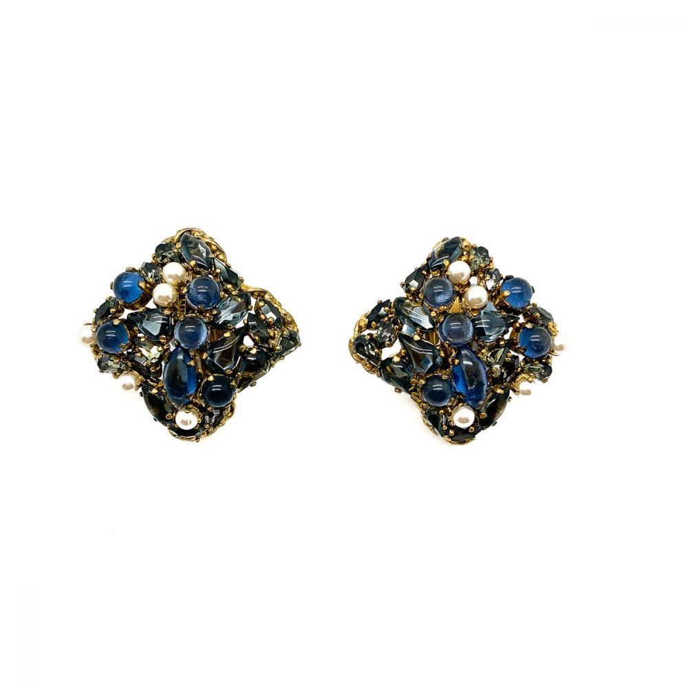 Vintage Christian Dior Blue & Pearl Earrings 1963
