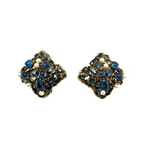 Vintage Christian Dior Blue & Pearl Earrings 1963