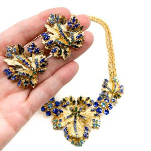 Vintage Christian Dior Leaf Necklace & Earrings