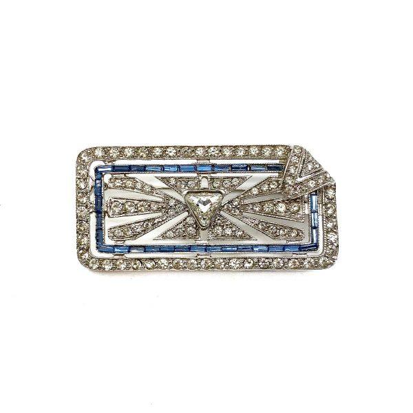 Vintage Silver Art Deco Paste Brooch