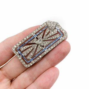 Vintage Silver Art Deco Paste Brooch