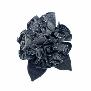 Vintage 1980s Chanel Denim Camellia Brooch