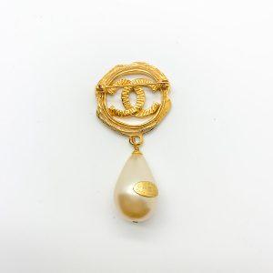 Vintage Chanel Pearl Logo Brooch