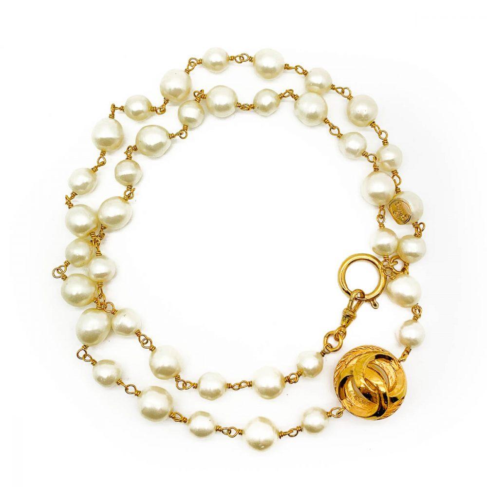 Vintage Chanel Pearl Logo Necklace