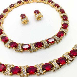 Vintage Nina Ricci Ruby Necklace Set