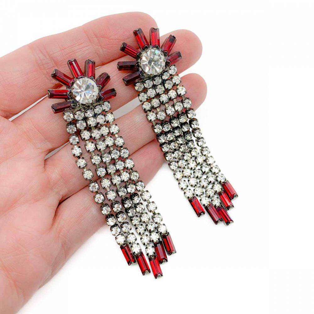 Vintage Red Crystal Cascade Earrings