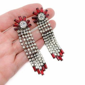 Vintage Red Crystal Cascade Earrings