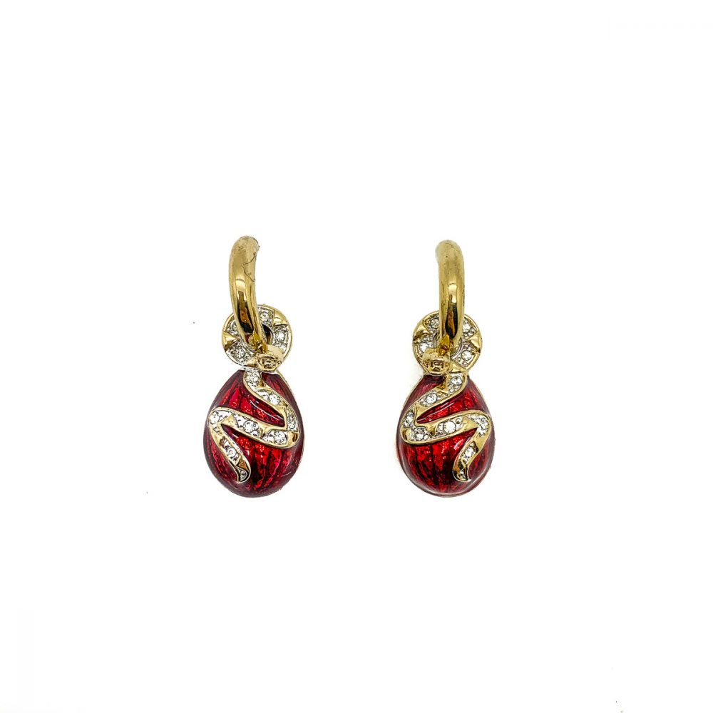 Vintage Red Enamel Snake Earrings