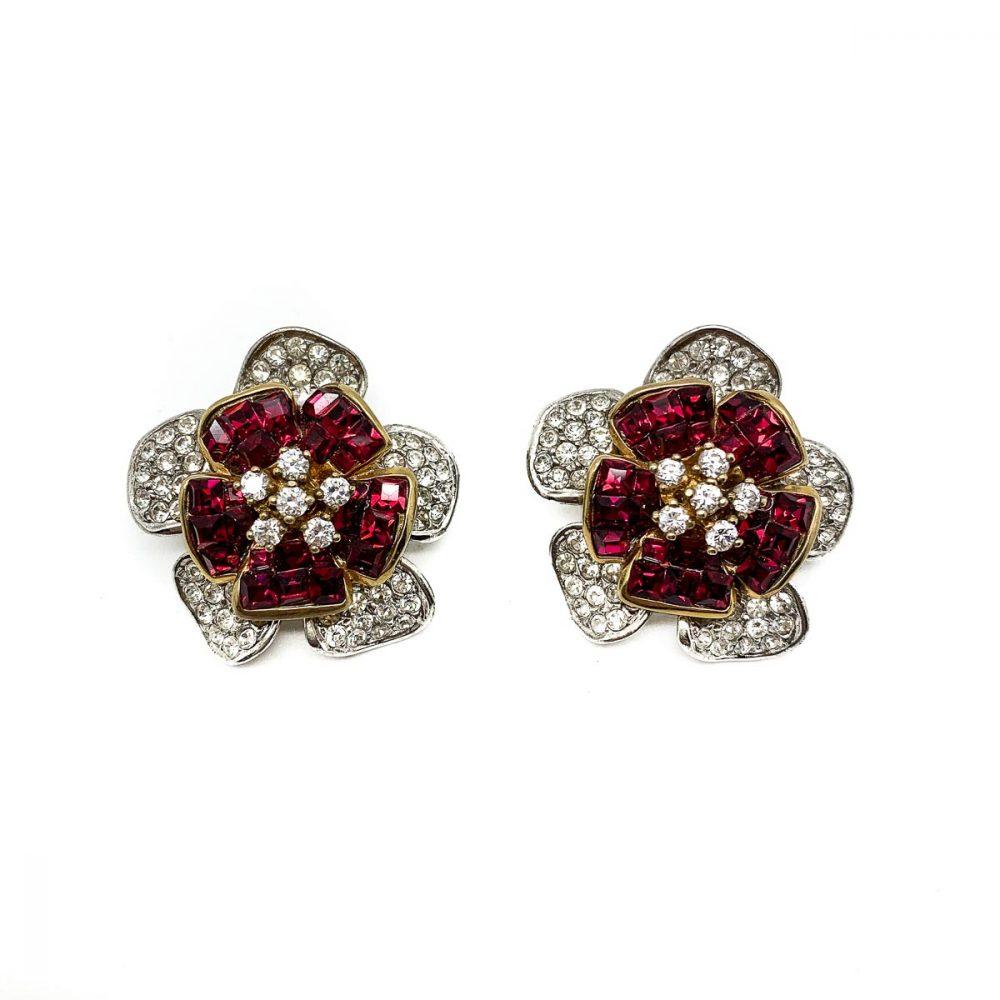 Vintage Ruby Crystal Flower Earrings