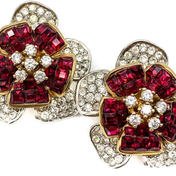 Vintage Ruby Crystal Flower Earrings