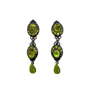 Vintage Dior Green Glass Earrings