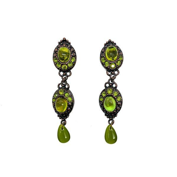 Vintage Dior Green Glass Earrings