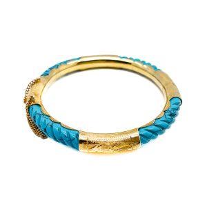 Vintage Turquoise Gold Bangle