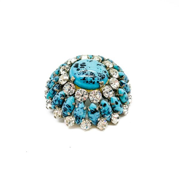 Vintage Turquoise Glass Brooch