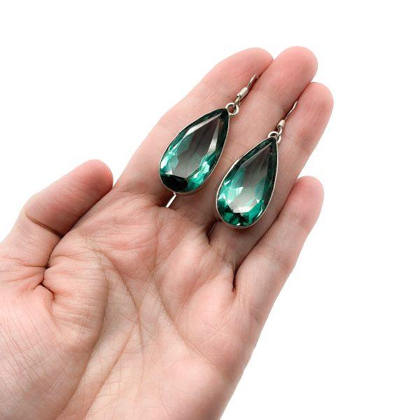 Vintage Green Teardrop Earrings