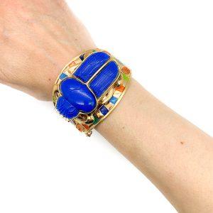vintage Fattorini Egyptian scarab cuff
