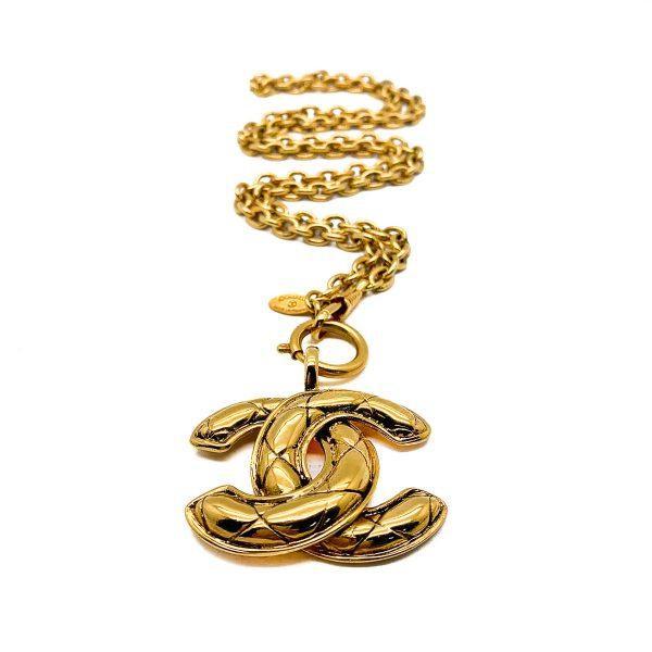 Vintage Chanel Matelassé CC Necklace