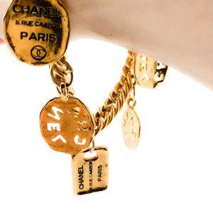 Vintage Chanel Logo Charm Bracelet
