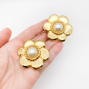 Vintage Pinky Paris Flower Earrings