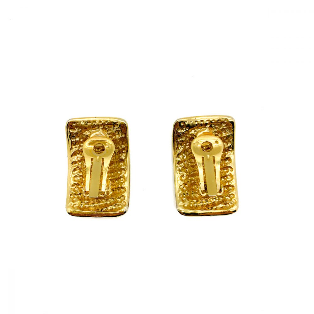 Vintage Gold Ribbed Earrings