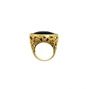 Vintage Gold Black Crystal Ring