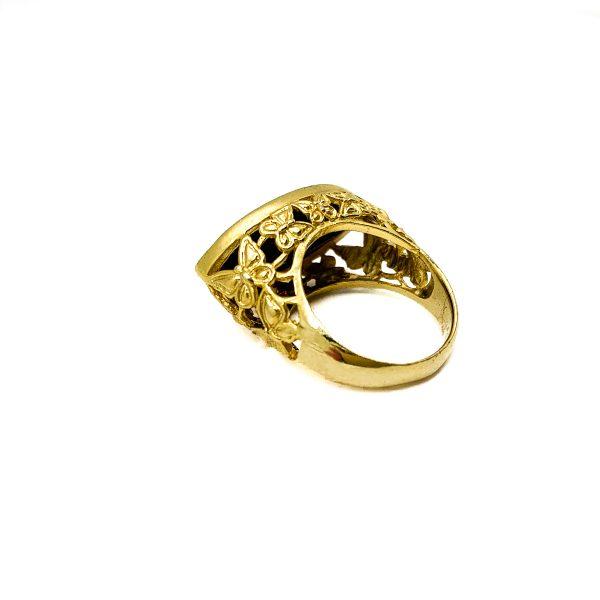 Vintage Gold Black Crystal Ring