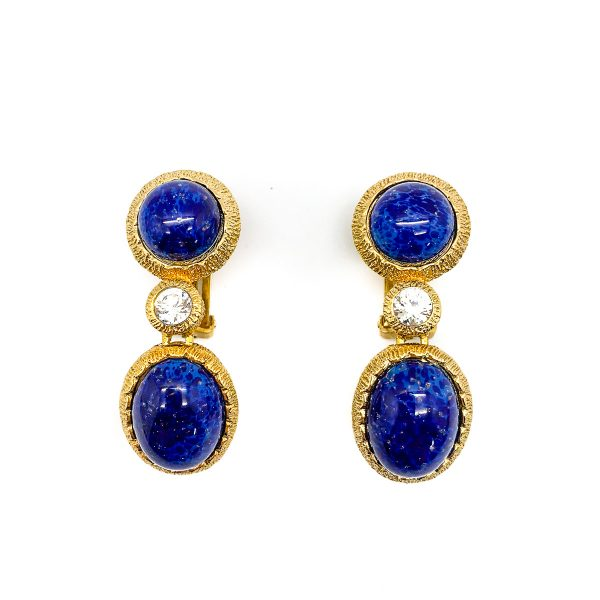 Vintage Dior Lapis Earrings