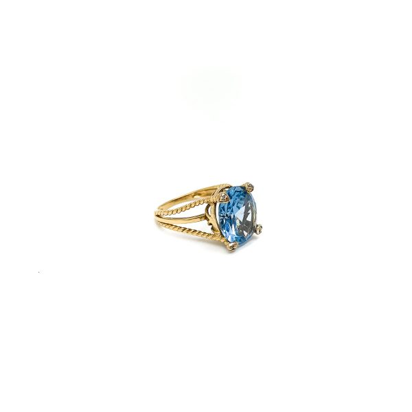 Vintage 9ct Gold Blue Paste Ring