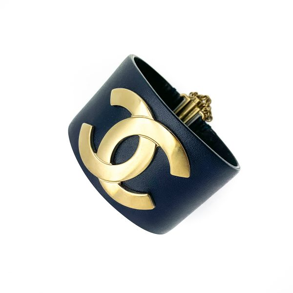 Pre Loved Chanel Leather Logo Cuff