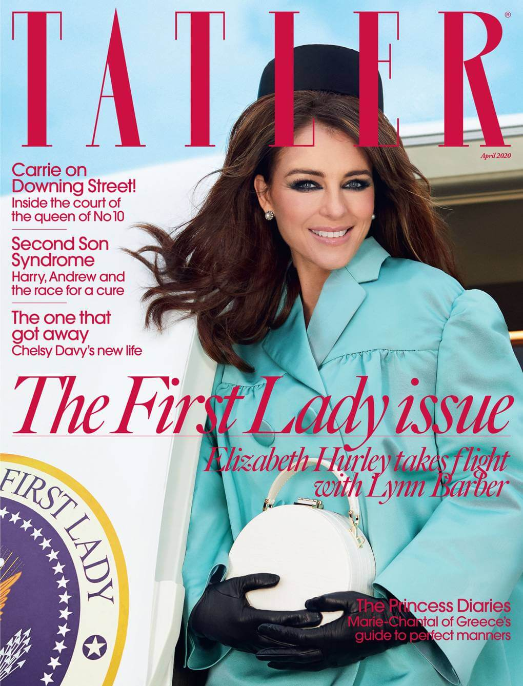 Liz Hurley Wears Jennifer Gibson Jewellery for Tatler April 2020