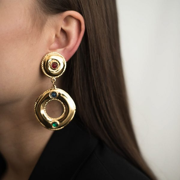 Vintage Givenchy Jewelled Hoop Earrings