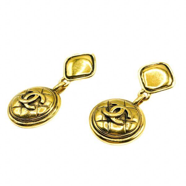 Vintage Chanel CC Logo Drop Earrings