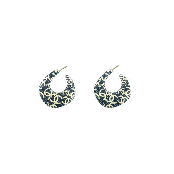 Vintage Chanel Denim Creole Earrings