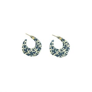 Vintage Chanel Denim Creole Earrings